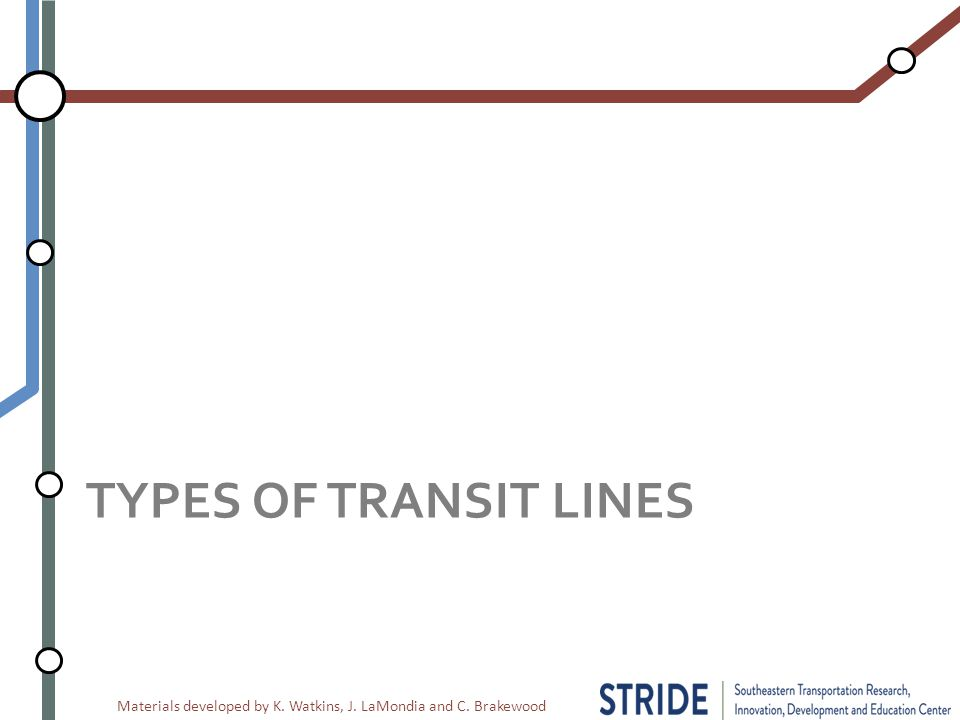 Materials developed by K. Watkins, J. LaMondia and C. Brakewood TYPES OF TRANSIT LINES