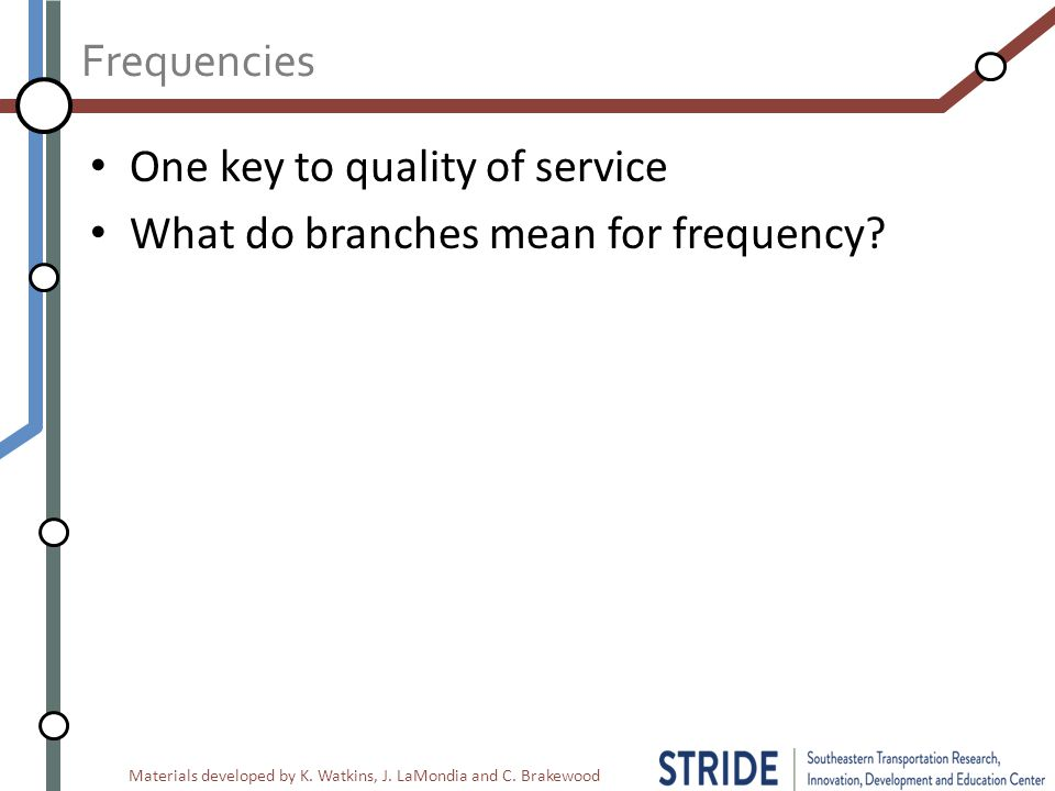 Materials developed by K. Watkins, J. LaMondia and C. Brakewood Frequencies One key to quality of service What do branches mean for frequency?
