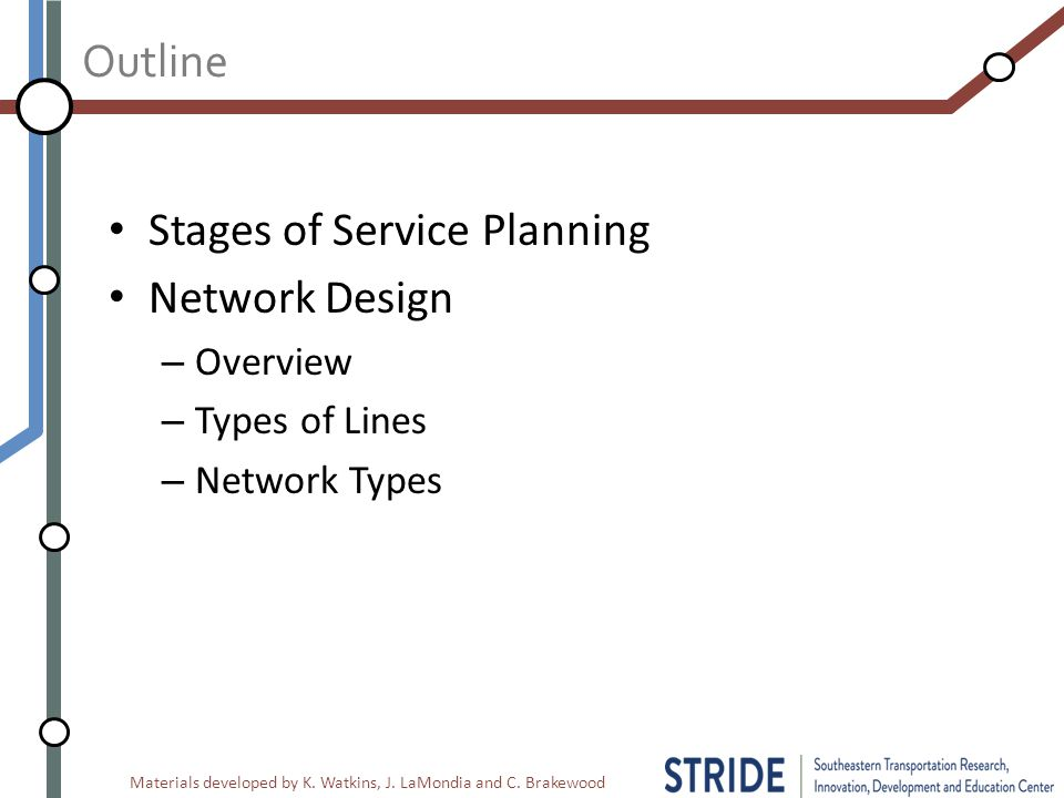 Materials developed by K. Watkins, J. LaMondia and C. Brakewood Outline Stages of Service Planning Network Design – Overview – Types of Lines – Networ
