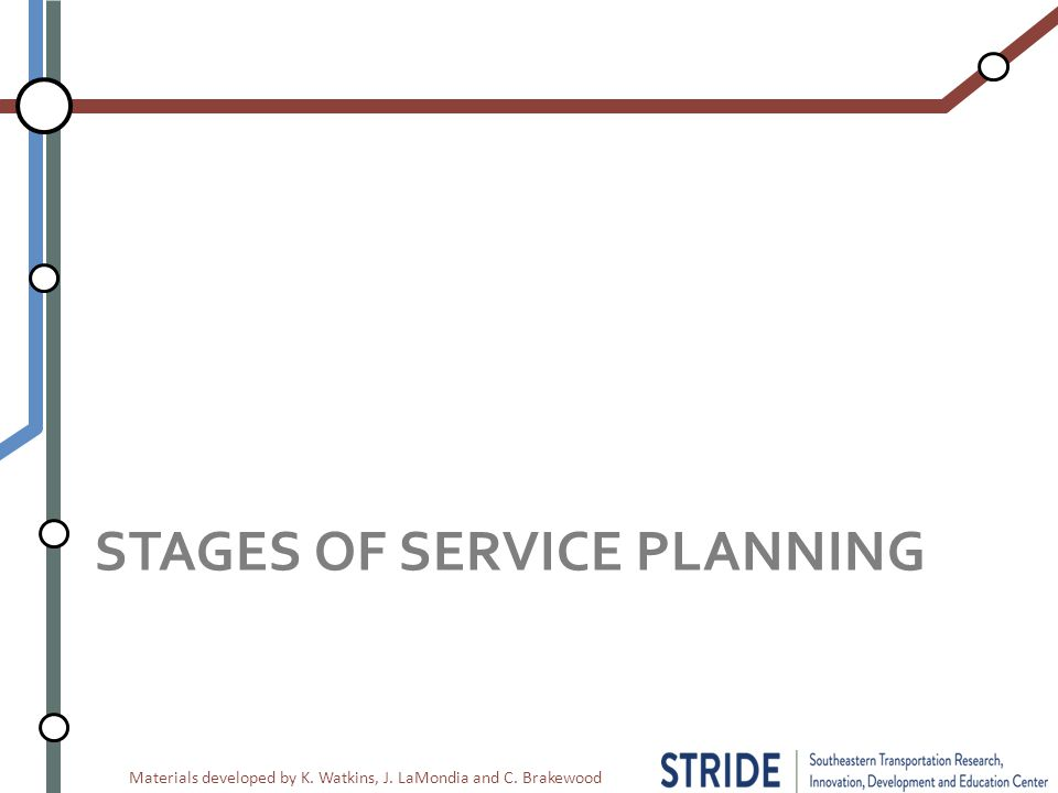 Materials developed by K. Watkins, J. LaMondia and C. Brakewood STAGES OF SERVICE PLANNING