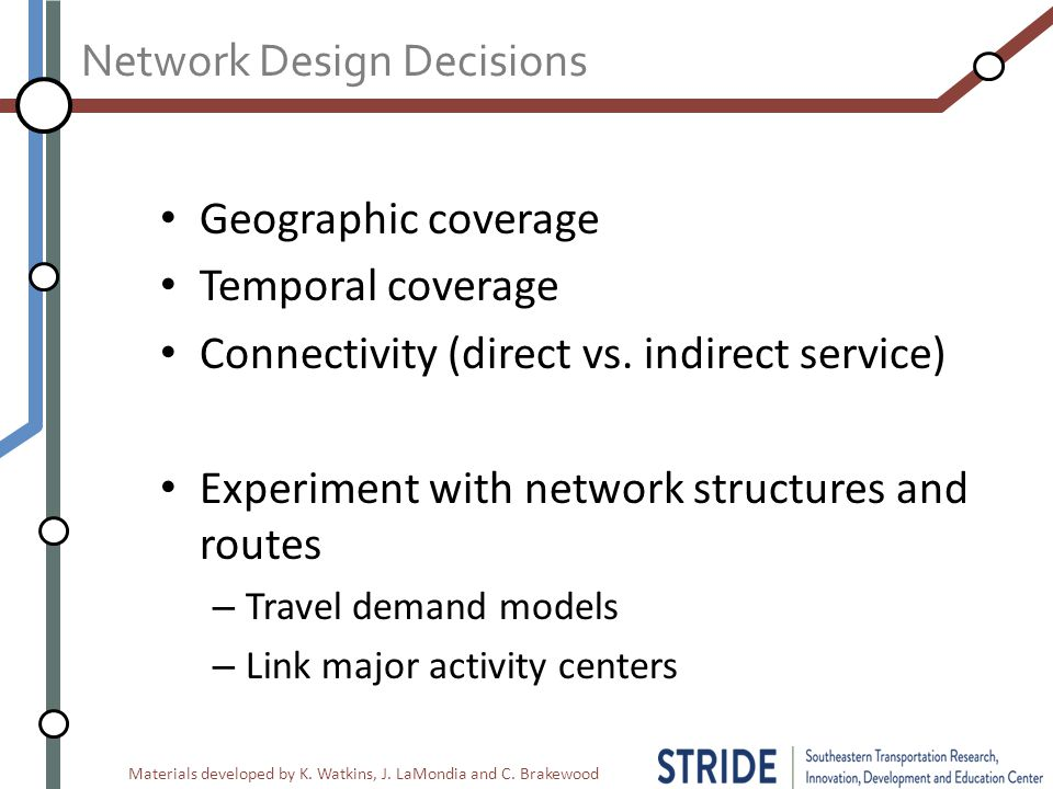 Materials developed by K. Watkins, J. LaMondia and C. Brakewood Network Design Decisions Geographic coverage Temporal coverage Connectivity (direct vs