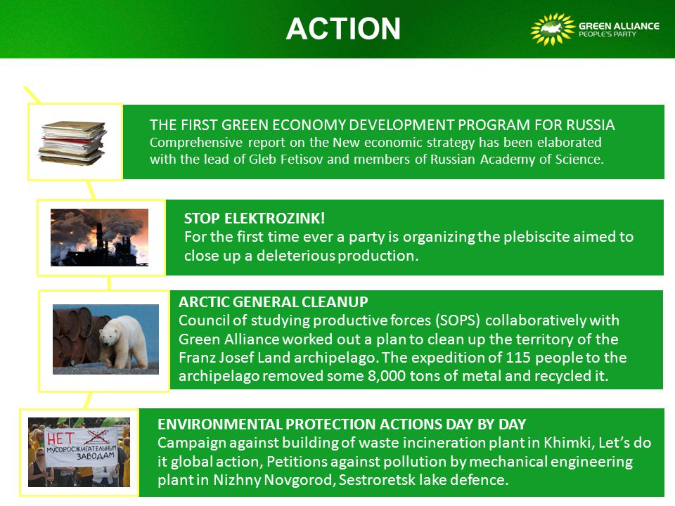 ACTION THE FIRST GREEN ECONOMY DEVELOPMENT PROGRAM FOR RUSSIA Comprehensive report on the New economic strategy has been elaborated with the lead of Gleb Fetisov and members of Russian Academy of Science.