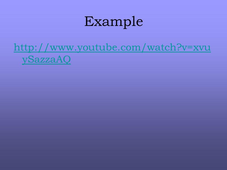 Example http://www.youtube.com/watch?v=xvu ySazzaAQ