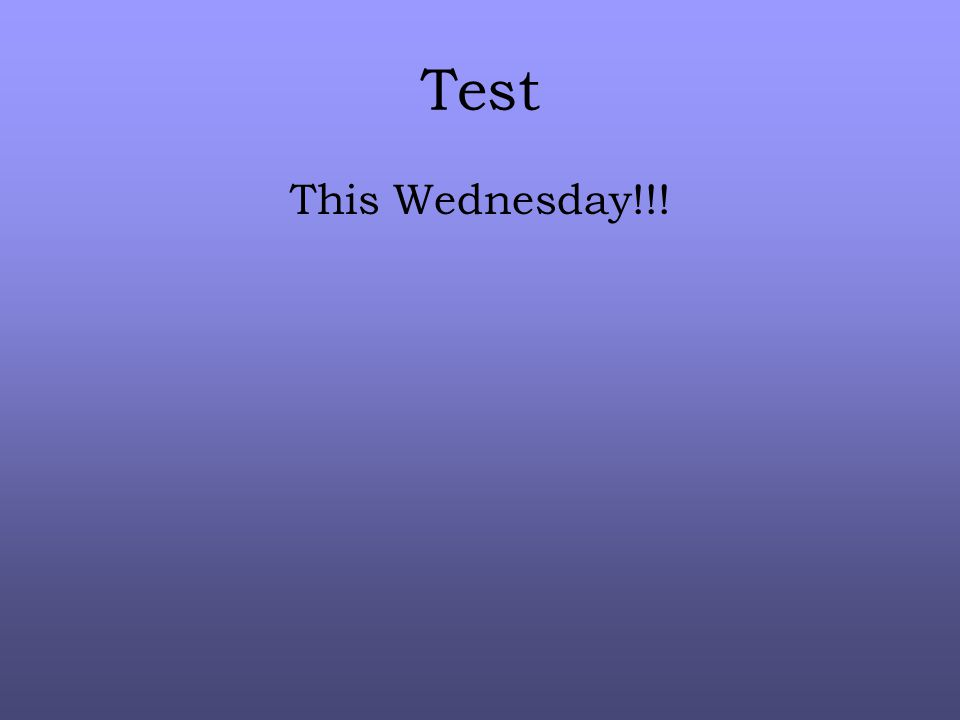 Test This Wednesday!!!