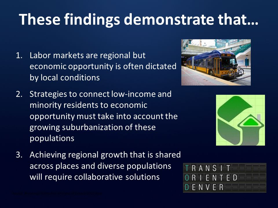 These findings demonstrate that… Source: Brookings Institution analysis of Census 2000 data 1.Labor markets are regional but economic opportunity is often dictated by local conditions 2.Strategies to connect low-income and minority residents to economic opportunity must take into account the growing suburbanization of these populations 3.Achieving regional growth that is shared across places and diverse populations will require collaborative solutions