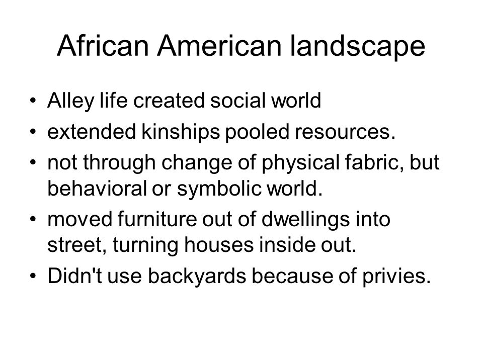 African American landscape Alley life created social world extended kinships pooled resources. not through change of physical fabric, but behavioral o