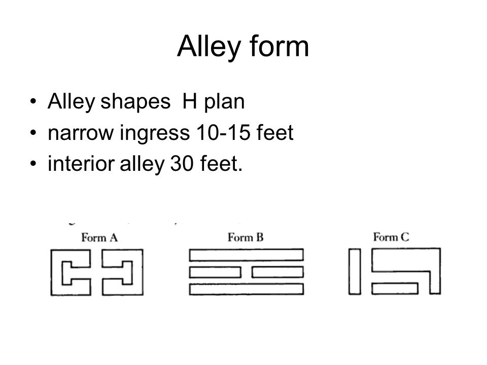 Alley form Alley shapes H plan narrow ingress 10-15 feet interior alley 30 feet.