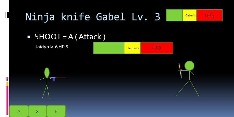 Ninja knife Gabel Lv. 3  KNIFE THROUGH = A  Jaidyn lv. 6 HP 8 AXB HP 3 HP8 Jaidyn's B = Continue