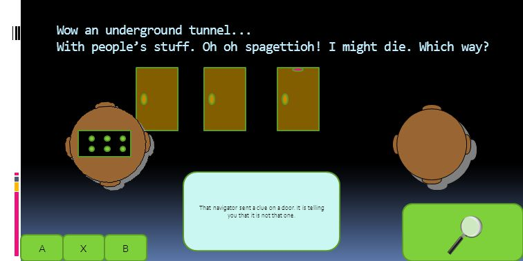 Wow an underground tunnel... With people's stuff. Oh oh spagettioh! I might die. Which way? AXB