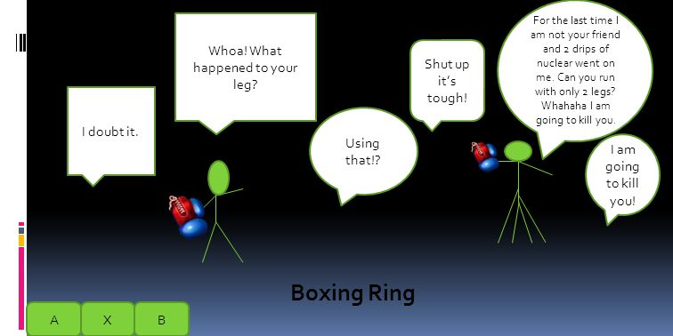 You are going to vs.your friend at boxing so use the boxing gloves.