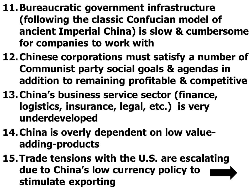 11.Bureaucratic government infrastructure (following the classic Confucian model of ancient Imperial China) is slow & cumbersome for companies to work with 12.Chinese corporations must satisfy a number of Communist party social goals & agendas in addition to remaining profitable & competitive 13.China's business service sector (finance, logistics, insurance, legal, etc.) is very underdeveloped 14.China is overly dependent on low value- adding-products 15.Trade tensions with the U.S.