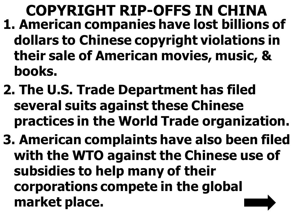 COPYRIGHT RIP-OFFS IN CHINA 1.