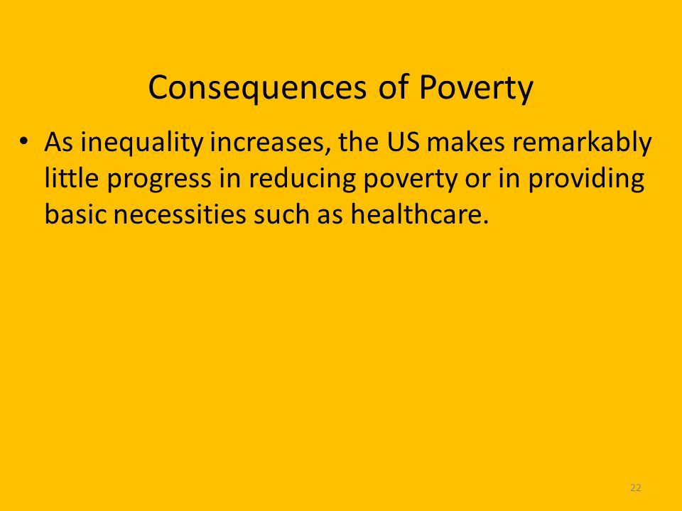 Consequences of Poverty As inequality increases, the US makes remarkably little progress in reducing poverty or in providing basic necessities such as healthcare.