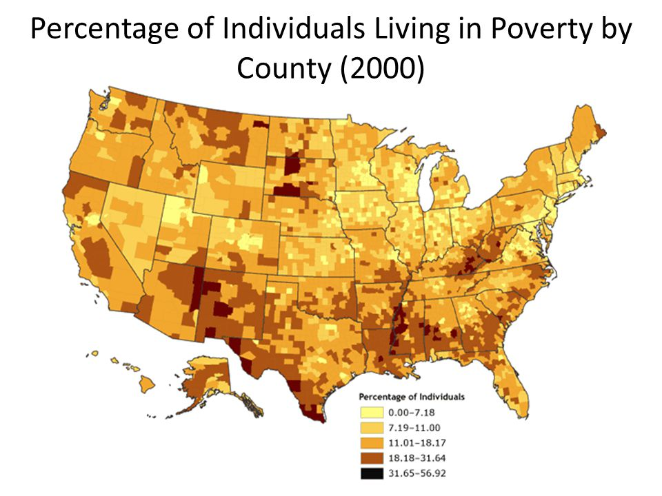 Percentage of Individuals Living in Poverty by County (2000)