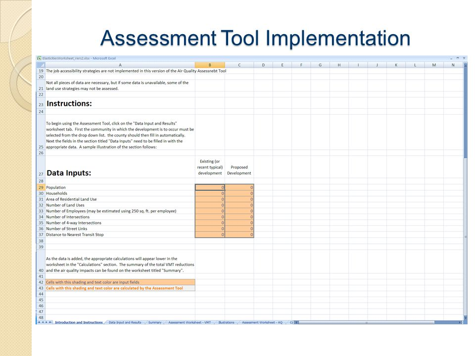 Assessment Tool Implementation