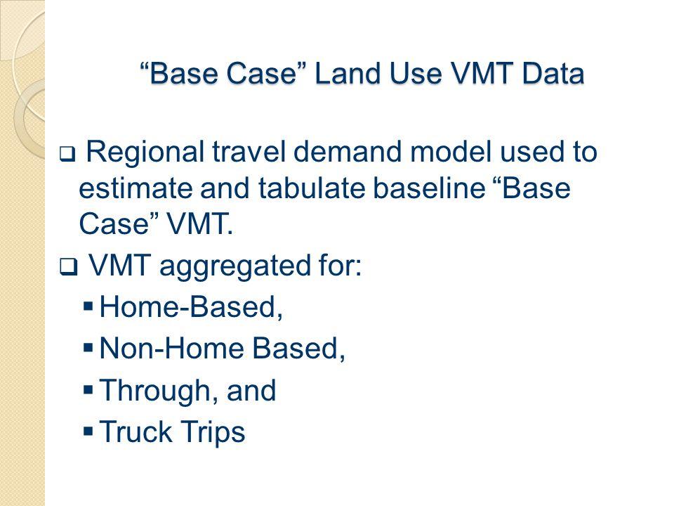 """""""Base Case"""" Land Use VMT Data  Regional travel demand model used to estimate and tabulate baseline """"Base Case"""" VMT.  VMT aggregated for:  Home-Base"""