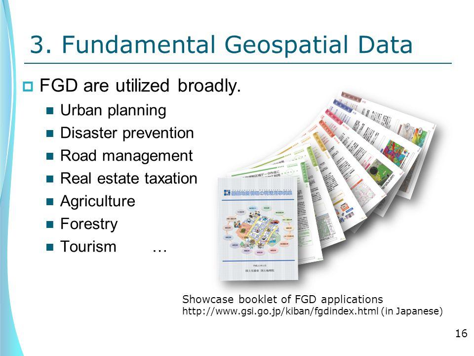3. Fundamental Geospatial Data  FGD are utilized broadly.