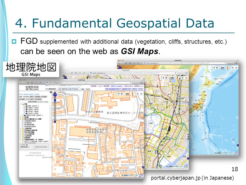 4. Fundamental Geospatial Data  FGD supplemented with additional data (vegetation, cliffs, structures, etc.) can be seen on the web as GSI Maps. 18 p