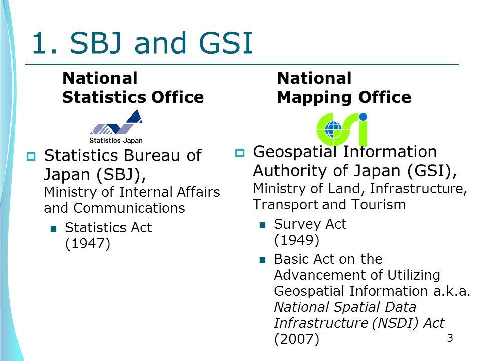 1. SBJ and GSI National Statistics Office  Statistics Bureau of Japan (SBJ), Ministry of Internal Affairs and Communications Statistics Act (1947) Na