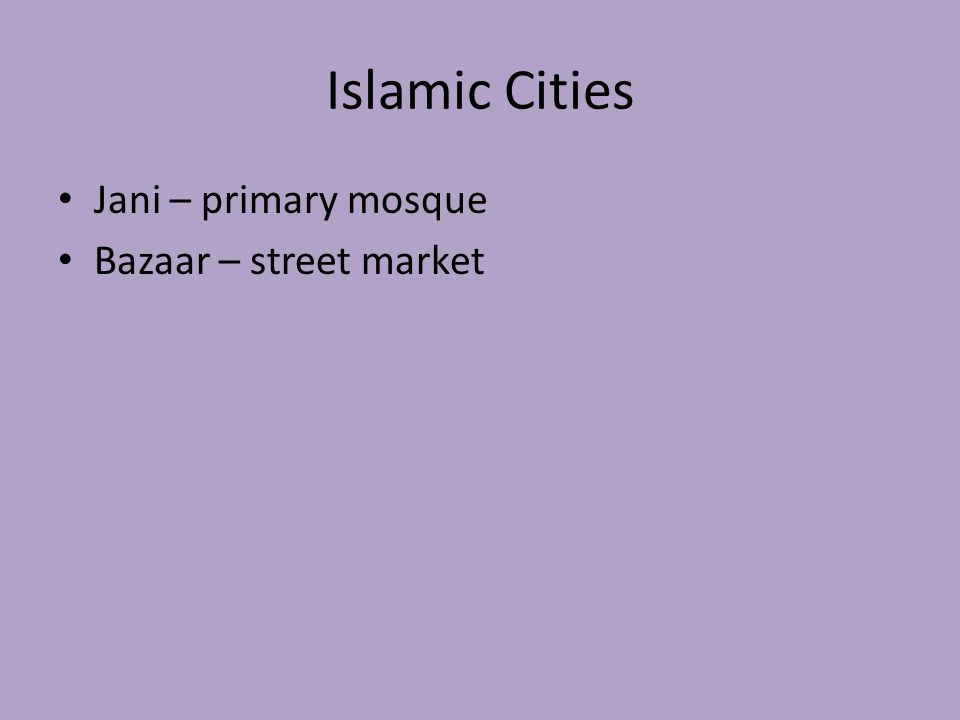 Islamic Cities Jani – primary mosque Bazaar – street market