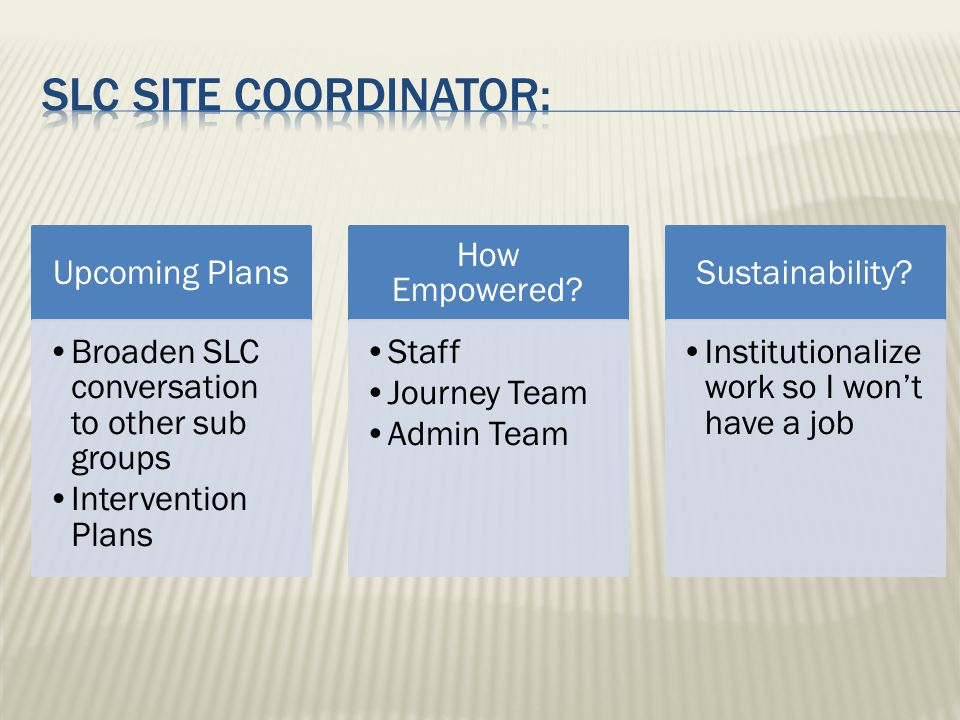 Upcoming Plans Broaden SLC conversation to other sub groups Intervention Plans How Empowered.
