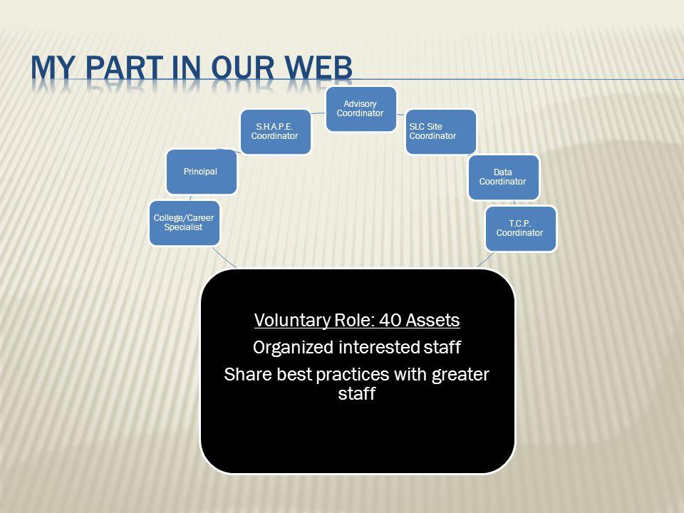 Advisory Coordinator SLC Site Coordinator Data Coordinator T.C.P. Coordinator Voluntary Role: 40 Assets Organized interested staff Share best practice