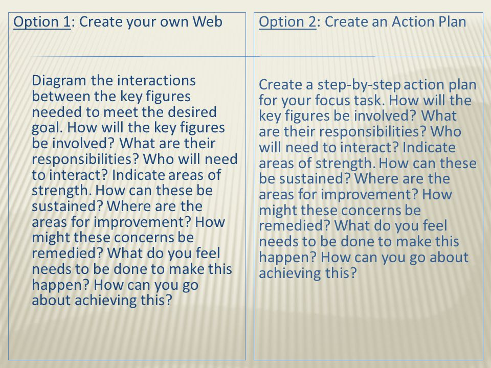 Option 1: Create your own Web Diagram the interactions between the key figures needed to meet the desired goal.