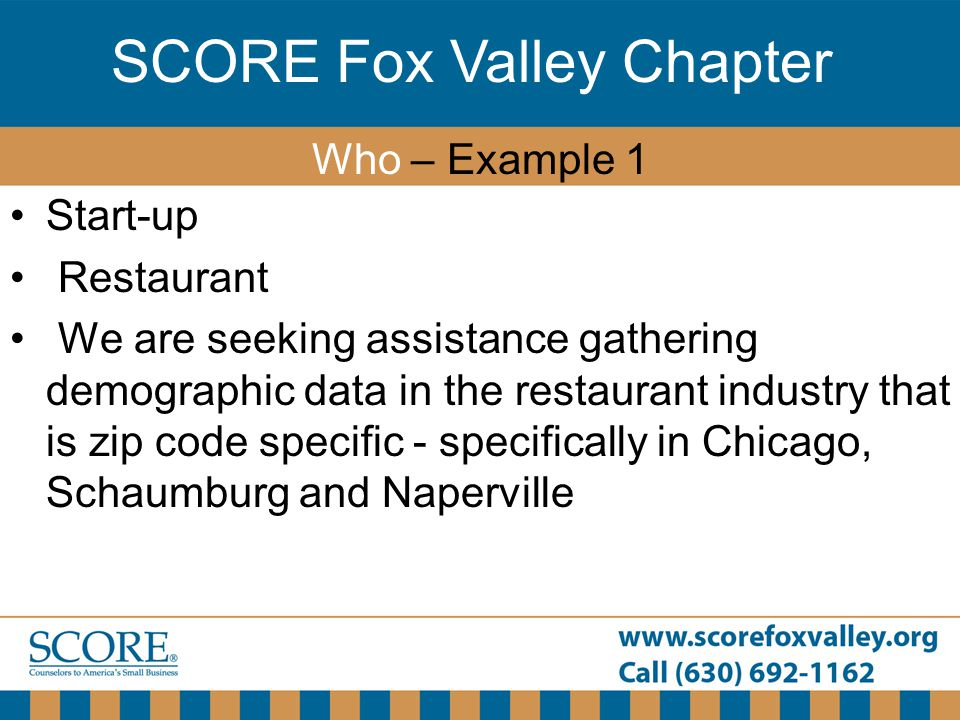 SCORE Fox Valley Chapter Start-up Restaurant We are seeking assistance gathering demographic data in the restaurant industry that is zip code specific
