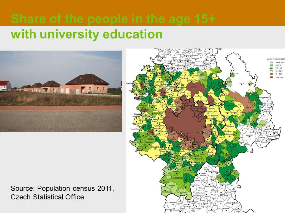 Share of the people in the age 15+ with university education Source: Population census 2011, Czech Statistical Office