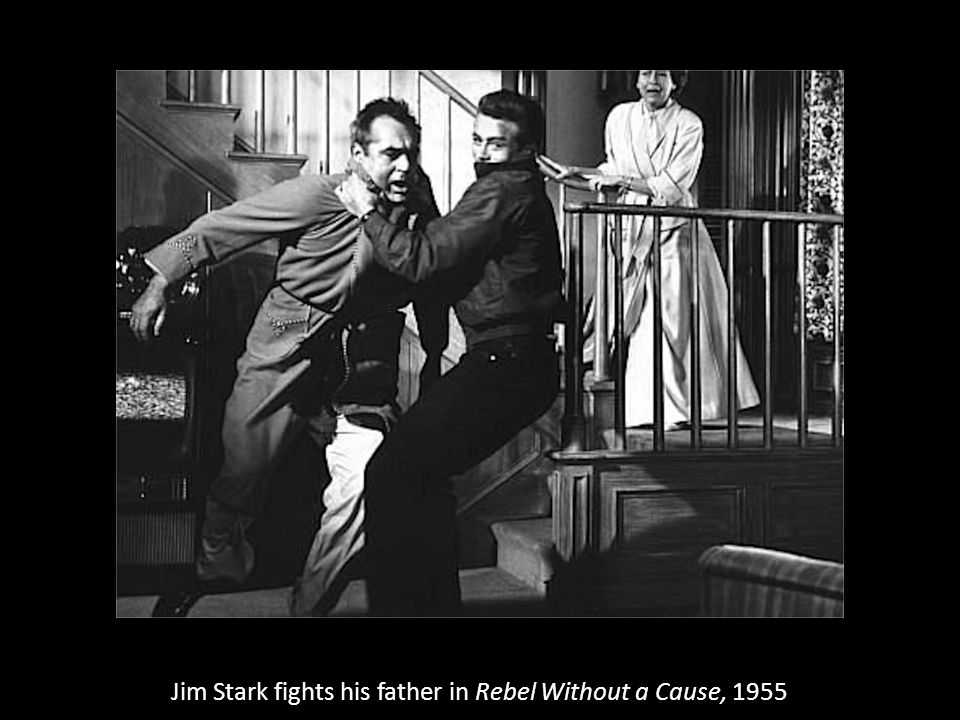 Jim Stark fights his father in Rebel Without a Cause, 1955