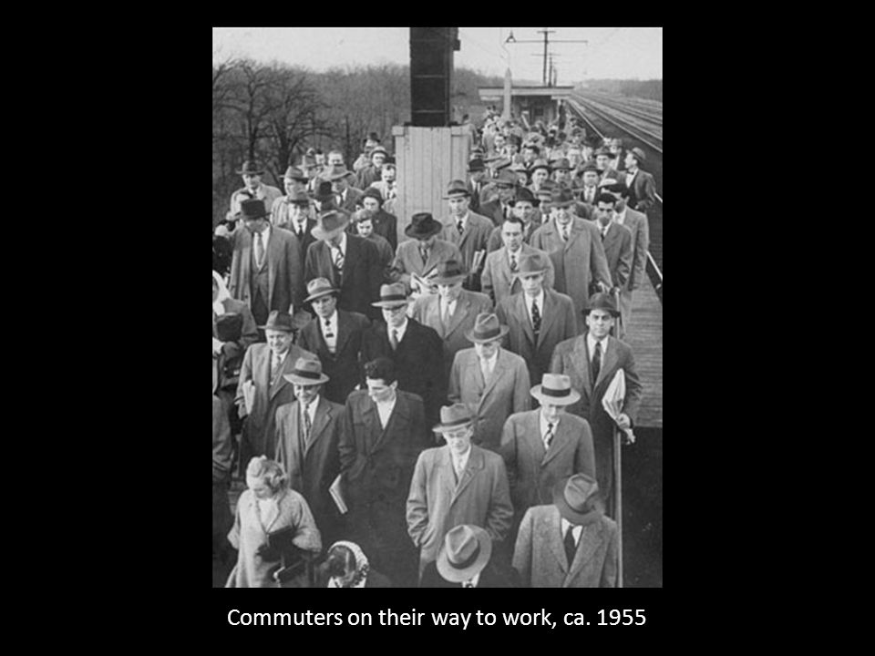 Commuters on their way to work, ca. 1955