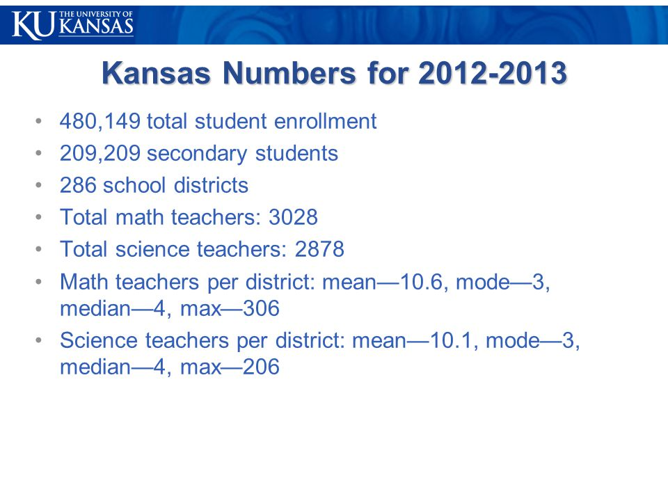 Kansas Numbers for 2012-2013 480,149 total student enrollment 209,209 secondary students 286 school districts Total math teachers: 3028 Total science teachers: 2878 Math teachers per district: mean—10.6, mode—3, median—4, max—306 Science teachers per district: mean—10.1, mode—3, median—4, max—206