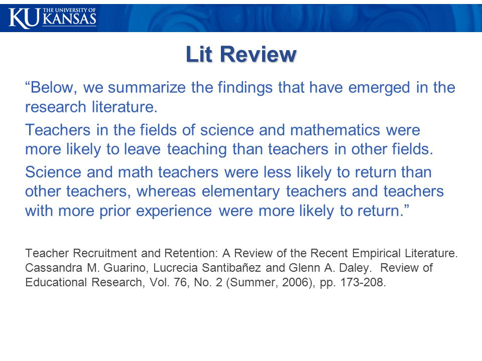 Lit Review Below, we summarize the findings that have emerged in the research literature.