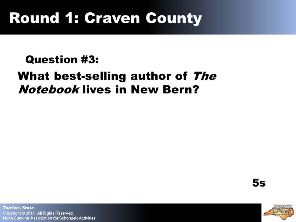 Question #3: What best-selling author of The Notebook lives in New Bern.