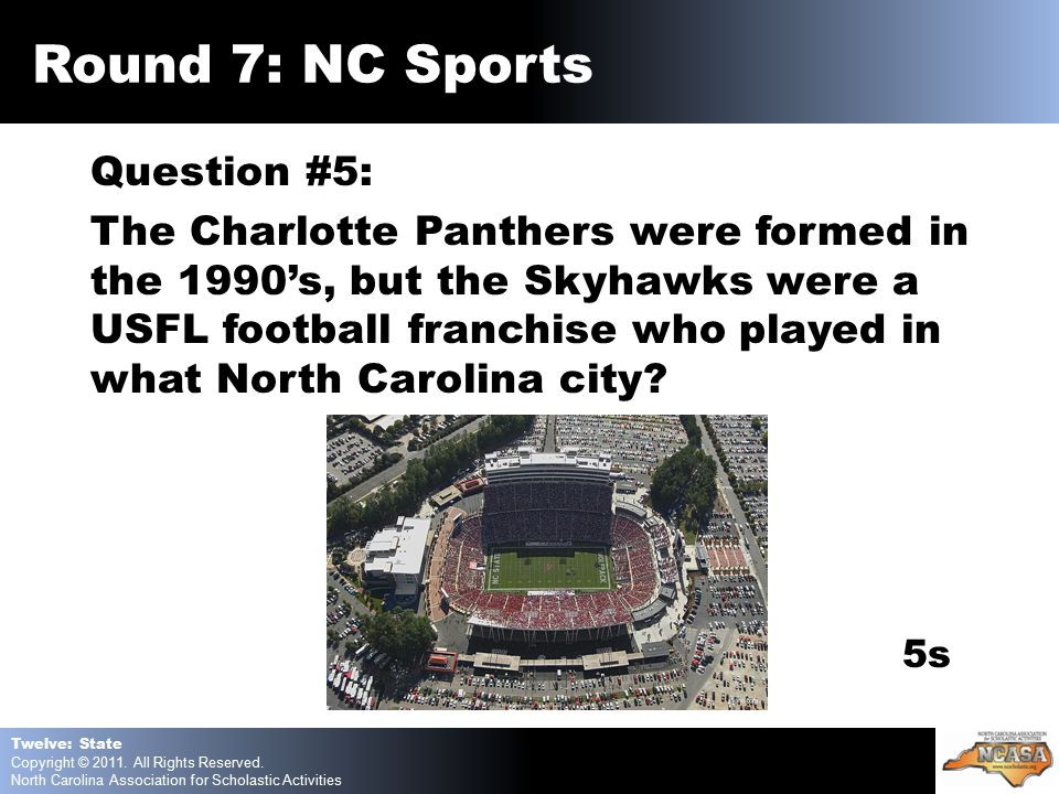 Question #5: The Charlotte Panthers were formed in the 1990's, but the Skyhawks were a USFL football franchise who played in what North Carolina city.