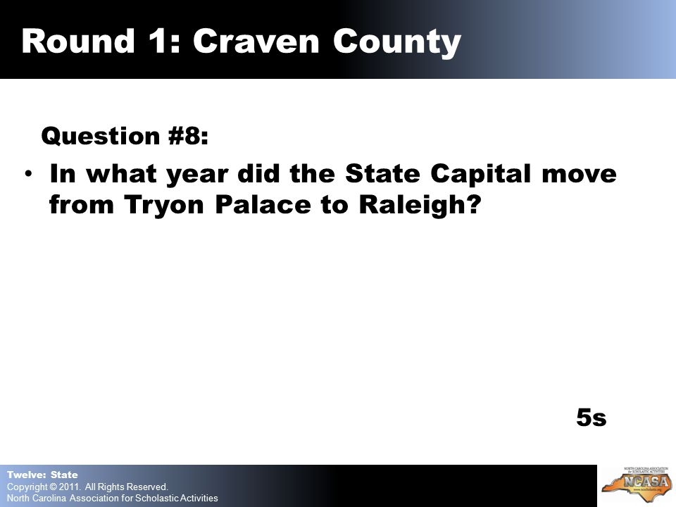 Question #8: In what year did the State Capital move from Tryon Palace to Raleigh.
