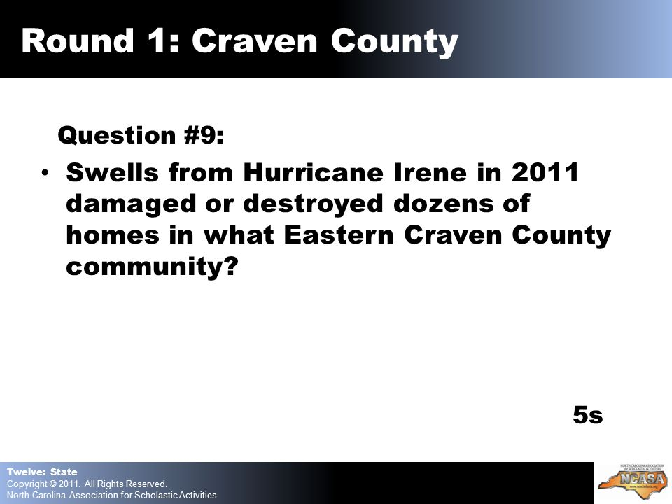 Question #9: Swells from Hurricane Irene in 2011 damaged or destroyed dozens of homes in what Eastern Craven County community.