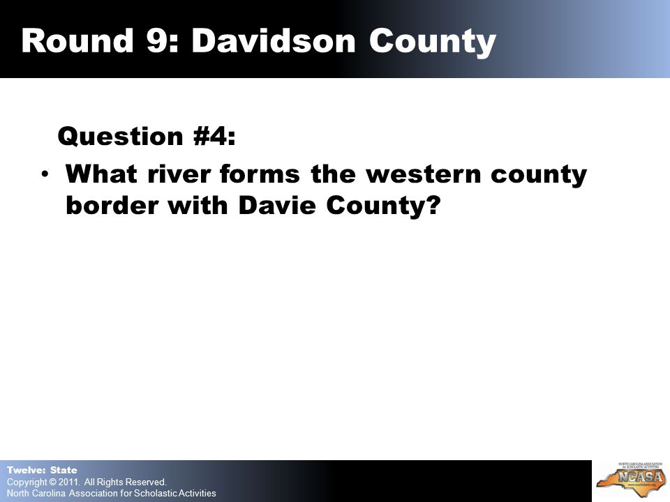 Question #4: What river forms the western county border with Davie County.