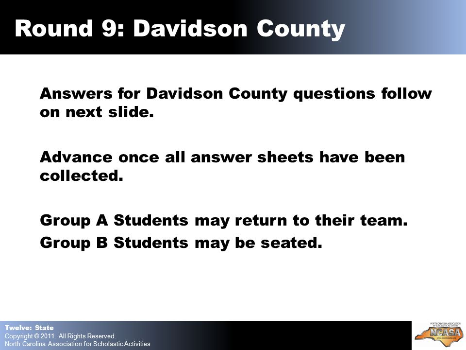 Answers for Davidson County questions follow on next slide.