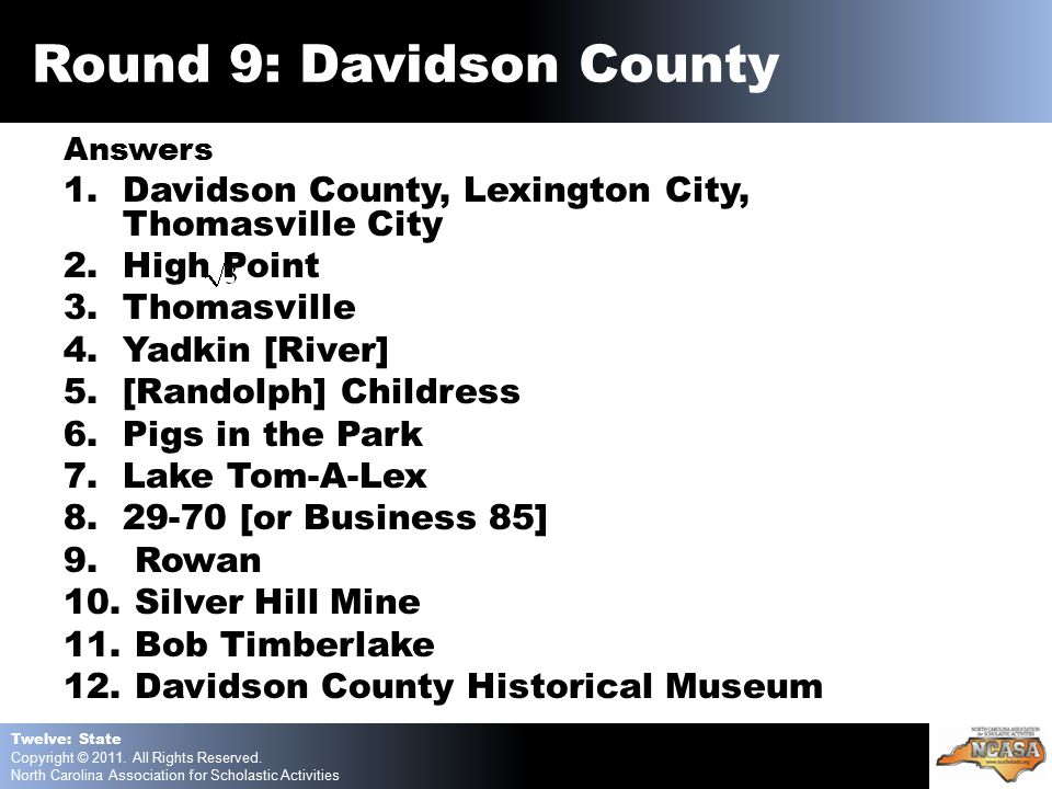 Answers 1.Davidson County, Lexington City, Thomasville City 2.High Point 3.Thomasville 4.Yadkin [River] 5.[Randolph] Childress 6.Pigs in the Park 7.Lake Tom-A-Lex 8.29-70 [or Business 85] 9.