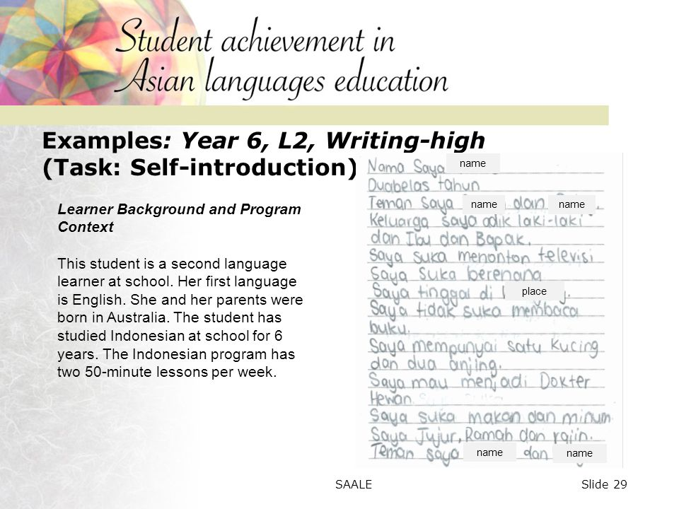 Examples: Year 6, L2, Writing-high (Task: Self-introduction) Learner Background and Program Context This student is a second language learner at school.