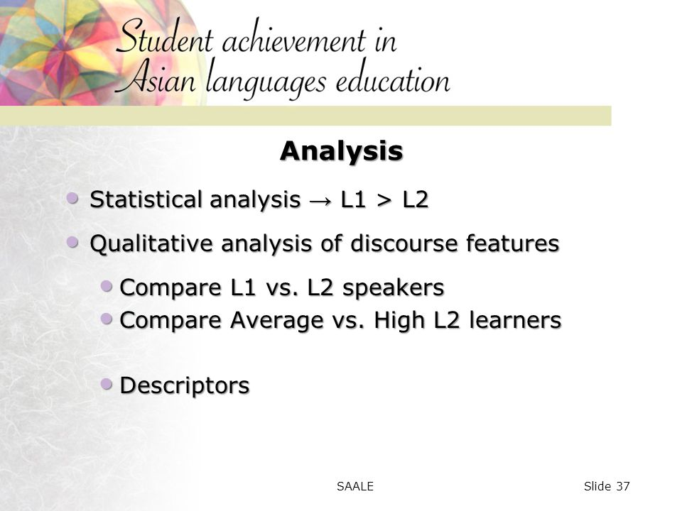 Analysis Statistical analysis → L1 > L2 Statistical analysis → L1 > L2 Qualitative analysis of discourse features Qualitative analysis of discourse features Compare L1 vs.
