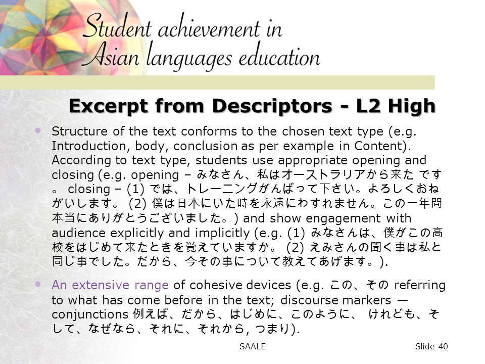 Excerpt from Descriptors - L2 High Structure of the text conforms to the chosen text type (e.g.