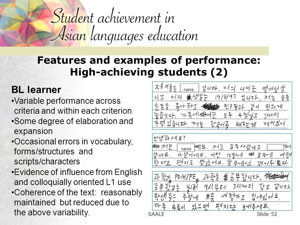 Features and examples of performance: High-achieving students (2) name BL learner Variable performance across criteria and within each criterion Some degree of elaboration and expansion Occasional errors in vocabulary, forms/structures and scripts/characters Evidence of influence from English and colloquially oriented L1 use Coherence of the text: reasonably maintained but reduced due to the above variability.