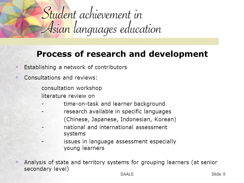 Overview of achievement: Writing Figure 1: Comparison of overall achievement among learner groups Slide 50SAALE
