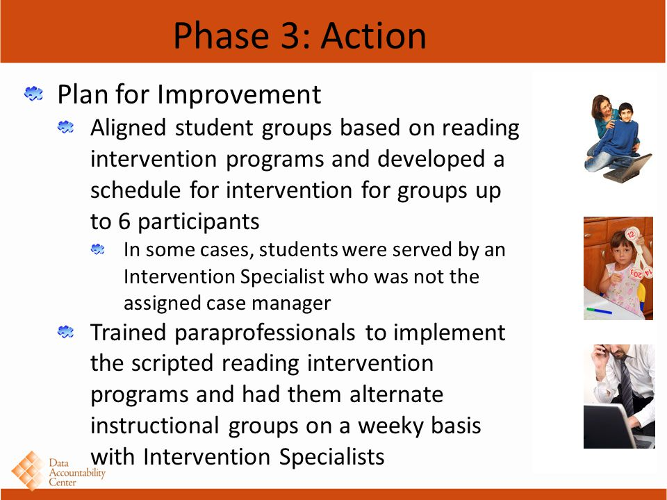 Phase 3: Action Plan for Improvement Aligned student groups based on reading intervention programs and developed a schedule for intervention for groups up to 6 participants In some cases, students were served by an Intervention Specialist who was not the assigned case manager Trained paraprofessionals to implement the scripted reading intervention programs and had them alternate instructional groups on a weeky basis with Intervention Specialists