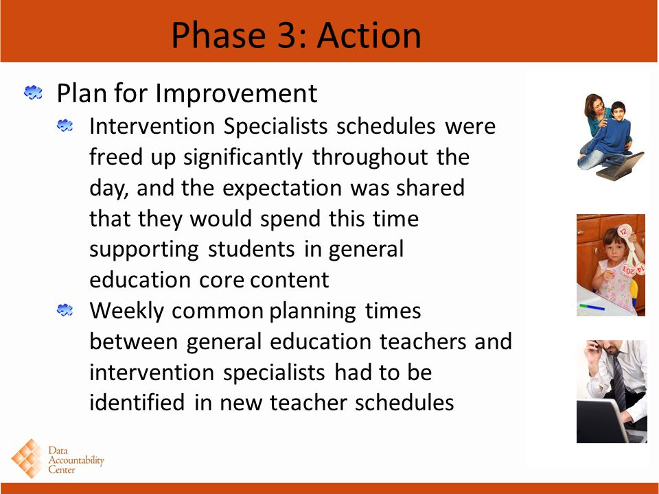 Phase 3: Action Plan for Improvement Intervention Specialists schedules were freed up significantly throughout the day, and the expectation was shared that they would spend this time supporting students in general education core content Weekly common planning times between general education teachers and intervention specialists had to be identified in new teacher schedules
