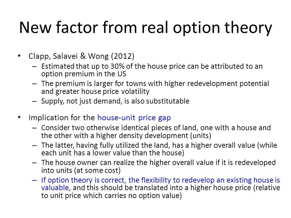 New factor from real option theory Clapp, Salavei & Wong (2012) – Estimated that up to 30% of the house price can be attributed to an option premium i