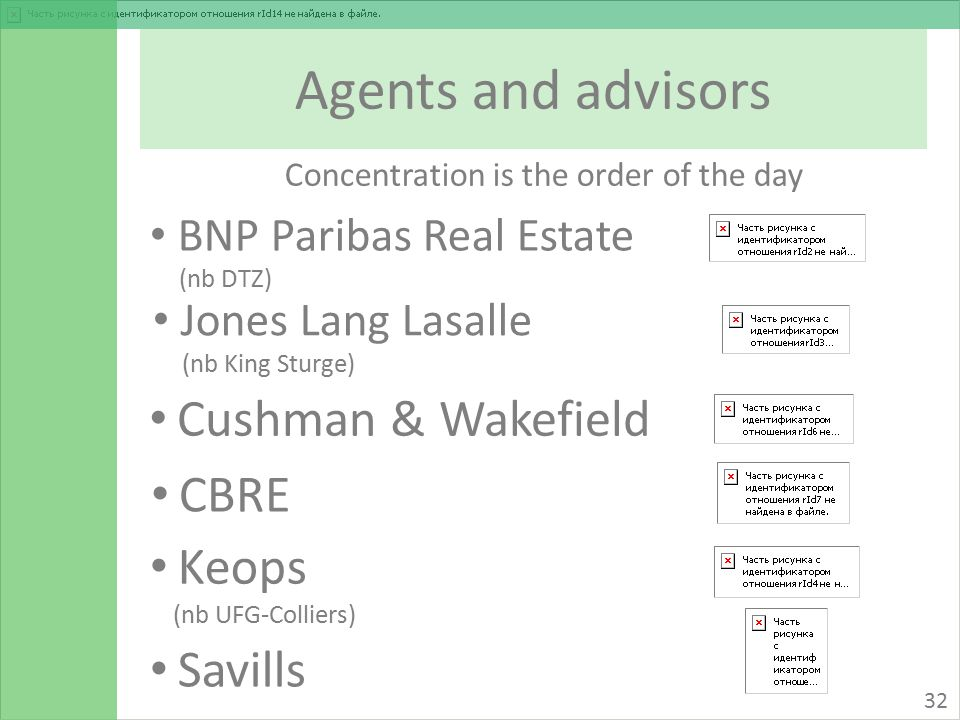 Agents and advisors 32 BNP Paribas Real Estate (nb DTZ) Savills Keops (nb UFG-Colliers) CBRE Cushman & Wakefield Jones Lang Lasalle (nb King Sturge) Concentration is the order of the day