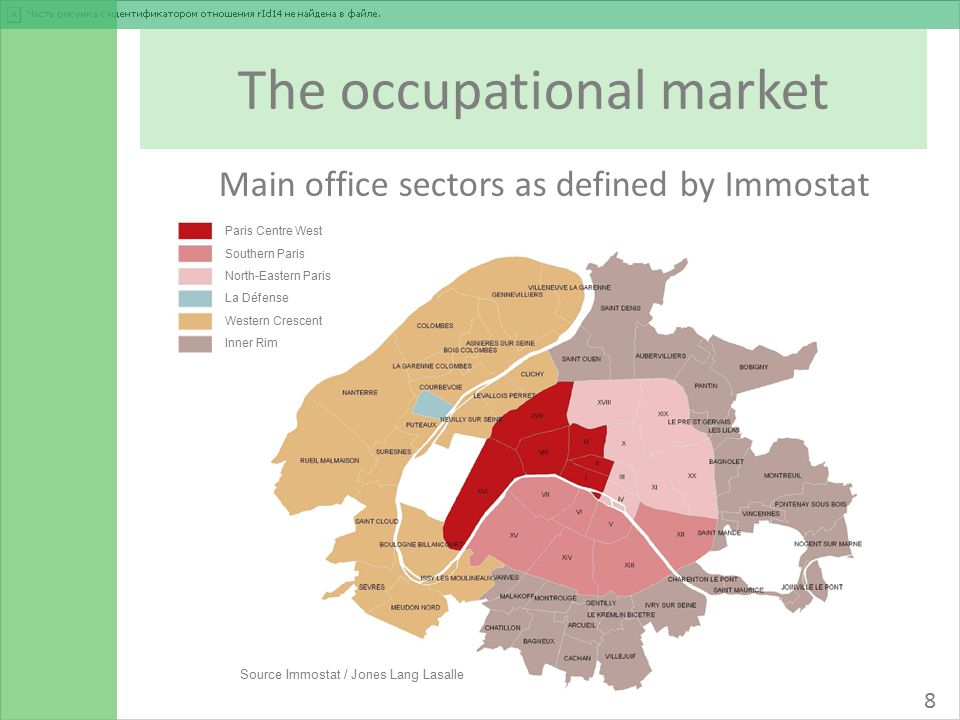 The occupational market Main office sectors as defined by Immostat Source Immostat / Jones Lang Lasalle 8 Paris Centre West Southern Paris North-Eastern Paris La Défense Western Crescent Inner Rim